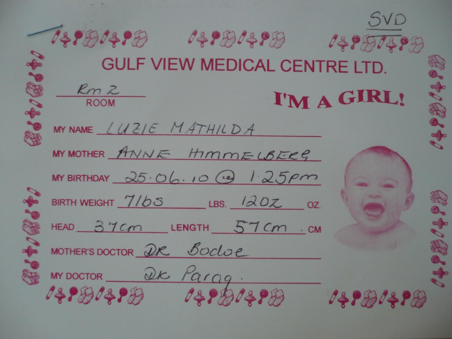 Luzies Geburtszettel